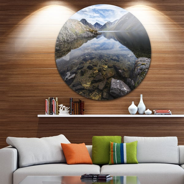 Designart 'Wast Water with Reflection in Lake' Landscape Disc Metal Wall Art