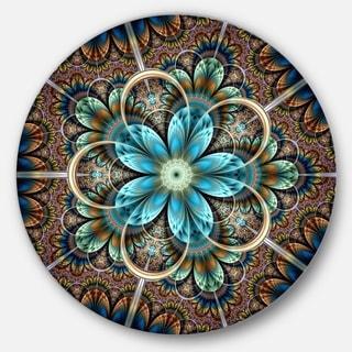 Designart 'Brown Blue Fractal Flower' Floral Disc Metal Wall Art