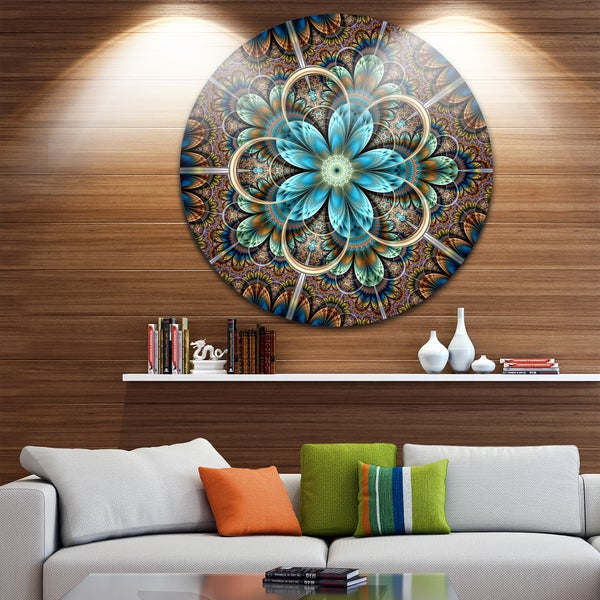 Shop Designart \'Brown Blue Fractal Flower\' Floral Disc Metal Wall ...