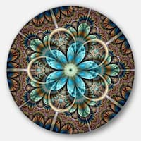 Designart 'Brown Blue Fractal Flower' Floral Disc Metal Wall Art