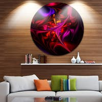 Designart 'Multi-Colored Magenta Stained Glass' Floral Circle Wall Art