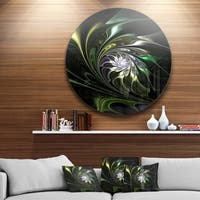 Designart 'Multi-Colored Green Stained Glass' Floral Round Metal Wall Art