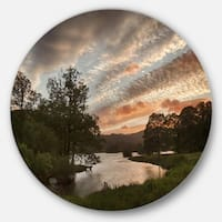 Designart 'Sunset over Rydal Waters' Landscape Round Metal Wall Art