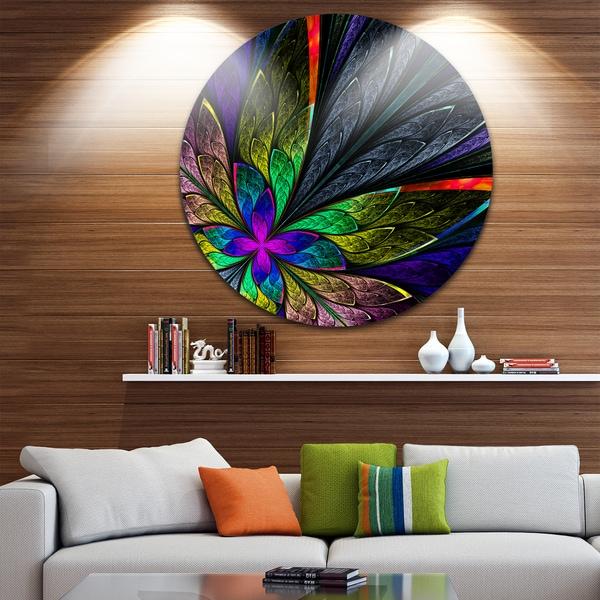 Designart 'Multi Color Fractal Flower Pattern' Floral Circle Wall Art