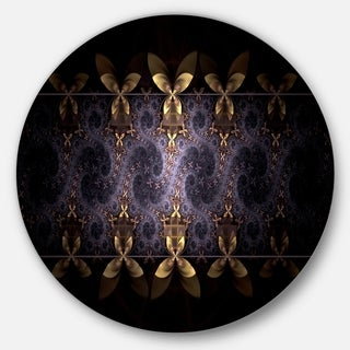 Designart 'Yellow and Violet Fractal Flower' Floral Large Disc Metal Wall art