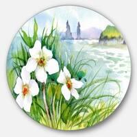 Designart 'Blooming Flowers on Summer River' Landscape Disc Metal Artwork