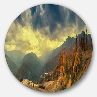 Designart 'Caucasus Mountains Yellow Panorama' Landscape Round Metal Wall Art