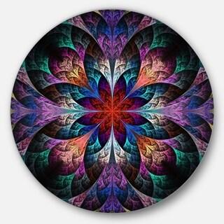 Designart 'Multi Color Fractal Flower Pattern' Floral Disc Metal Artwork