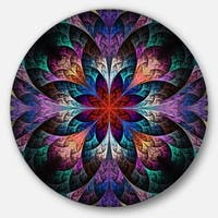 Designart 'Multi Color Fractal Flower Pattern' Floral Disc Metal Artwork