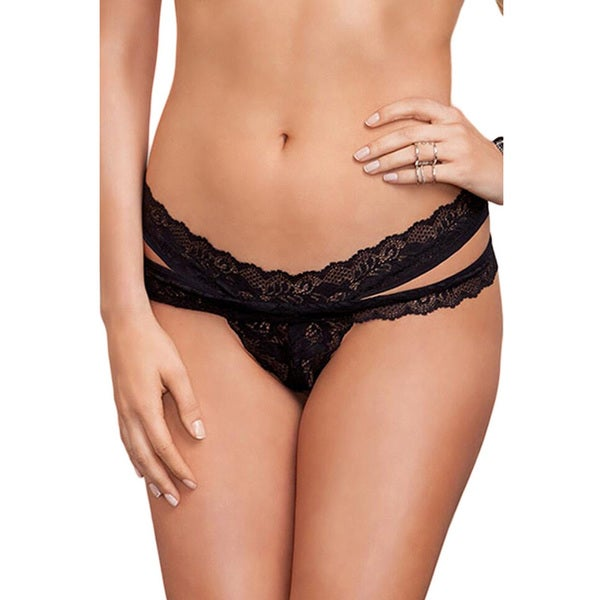 21433d31cab Shop Women's Black Scalloped Lace Thong with Split Side - Free ...
