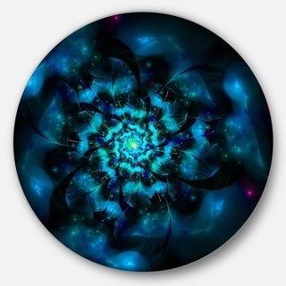 Designart 'Perfect Fractal Flower in Black and Blue' Floral Disc Metal Wall Art