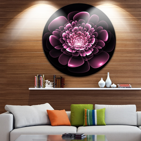 Designart 'Purple Glossy Typical Fractal Flower' Floral Large Disc Metal Wall art