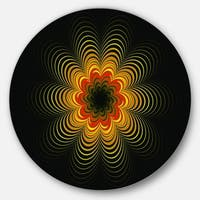 Designart 'Psychedelic Yellow Fractal Flower' Floral Disc Metal Wall Art