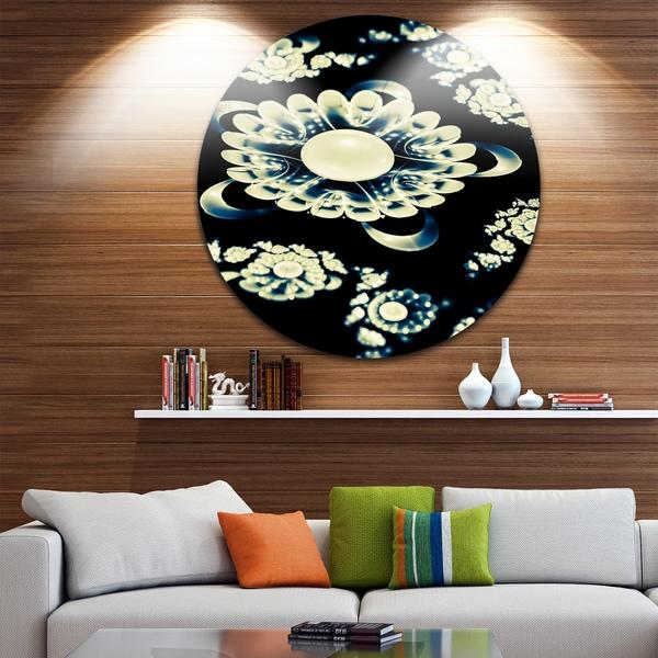 Designart 'Abstract White Mandala on Black' Floral Circle Wall Art