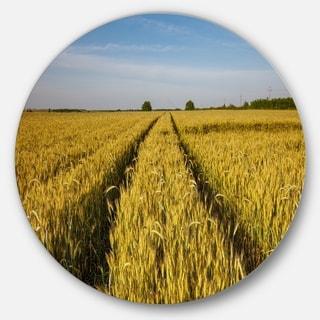 Designart 'Rural Road through Wheat Field' Landscape Disc Metal Wall Art