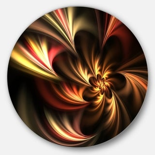 Designart 'Glossy Yellow and Red Fractal Flower' Floral Disc Metal Wall Art