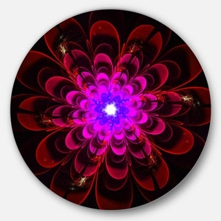 Designart 'Perfect Shiny Fractal Flower in Magenta' Floral Round Metal Wall Art