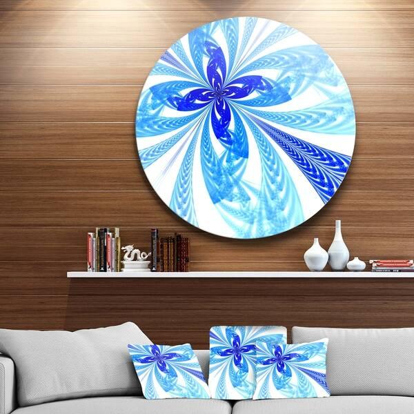 Shop Designart Blue Long Petal Fractal Flower Floral Large Disc Metal Wall Art Overstock 14249671