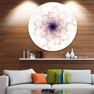 Designart 'Perfect Glowing Fractal Flower in Purple' Floral Disc Metal Artwork