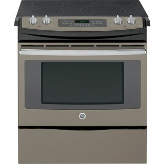 GE 30-in Slide-In Front Control Slate Grey Electric Convection Range