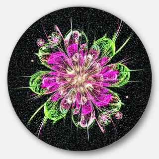 Designart 'Perfect Fractal Flower in Purple and Green' Floral Round Wall Art