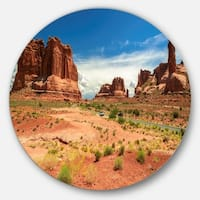Designart 'American Road in Arches National Park' Landscape Round Wall Art