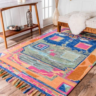 nuLOOM Modern Abstract HandTuft Wool Tassel Rug (7'6 x 9'6)