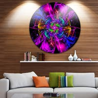 Designart 'Ideal Fractal Flower Digital Art in Purple' Floral Round Metal Wall Art