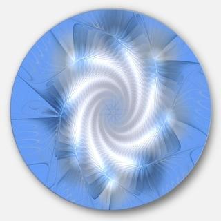 Designart 'White and Blue Fractal Star Flower' Modern Floral Round Metal Wall Art