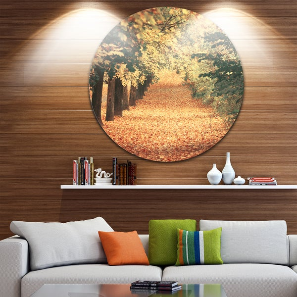 Designart 'Autumn Forest with Walking Path' Modern Forest Disc Metal Wall Art