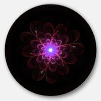 Designart 'Glowing Fractal Flower Pink on Black' Floral Round Metal Wall Art