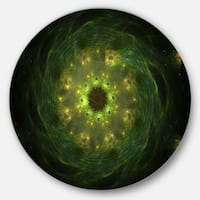 Designart 'Bright Green Fractal Flower in Black' Modern Floral Circle Wall Art