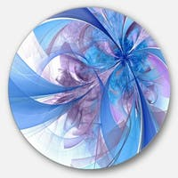 Designart 'Light Blue and Purple Fractal Flower' Modern Floral Round Metal Wall Art