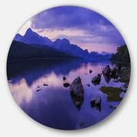 Designart 'Coniston Water in the Lake District' Landscape Round Metal Wall Art