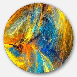 Designart 'Gold and Blue Psychedelic Pattern' Abstract Round Metal Wall Art