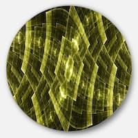 Designart 'Bright Yellow Fractal Flower Grid' Abstract Round Wall Art
