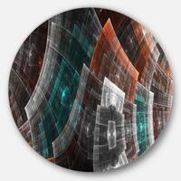 Designart 'Brown and Blue Fractal Flower Grid' Abstract Disc Metal Artwork