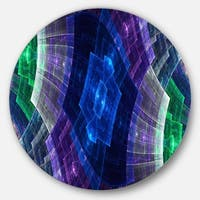 Designart 'Blue and Green Fractal Flower Grid' Abstract Large Disc Metal Wall art