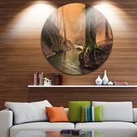 Designart 'Wild Creek in National Park' Modern Forest Round Wall Art