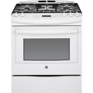 GE 30-in Slide-In Front Control White Gas Range