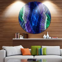 Designart 'Bright Blue and Green Flower Grid' Abstract Circle Wall Art