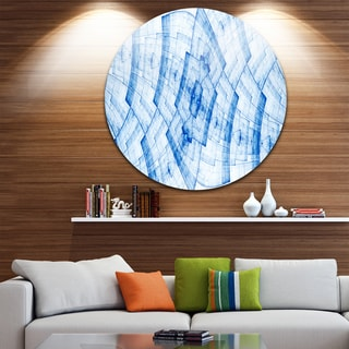 Designart 'Light Blue Fractal Flower Grid' Abstract Round Metal Wall Art