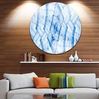 Designart 'Light Blue Fractal Flower Grid' Abstract Round Metal Wall Art