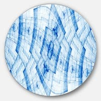 Designart 'Blue Fractal Flower Pattern Grid' Abstract Large Disc Metal Wall art