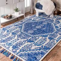"""nuLOOM Handmade Tufted Wool Paisley Tassel Blue Rug (7'6 x 9'6) - 7'6"""" x 9'6"""""""
