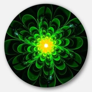 Designart 'Glowing Green Fractal Flower on Black' Floral Large Disc Metal Wall art