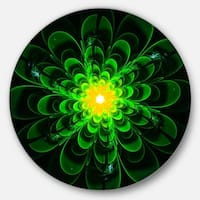 Designart 'Glowing Green Fractal Flower on Black' Floral Large Disc Metal Wall art