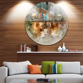 Designart 'Villajoyosa Town Digital Painting' Cityscape Circle Wall Art