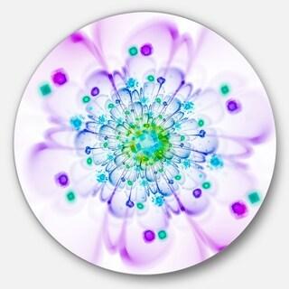 Designart 'Simple Purple Blue Fractal Flower' Floral Round Wall Art