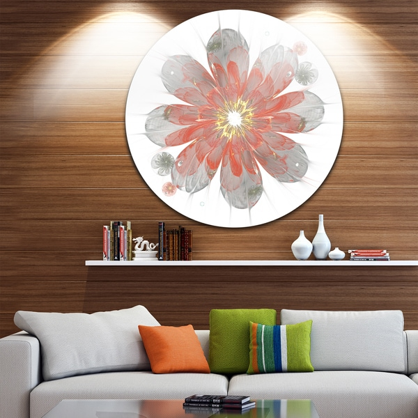 Designart 'Simple Red and White Fractal Flower' Floral Disc Metal Wall Art